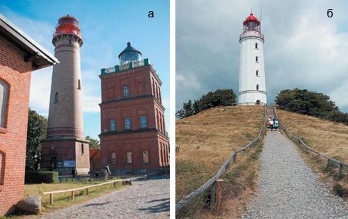а — маяки на острове Рюген, на мысе Аркона — самой северной точке Германии.  Маяк, который мы видим на фото слева, построен в 1902 году, его высота 36,3  м. 2bc978533eb